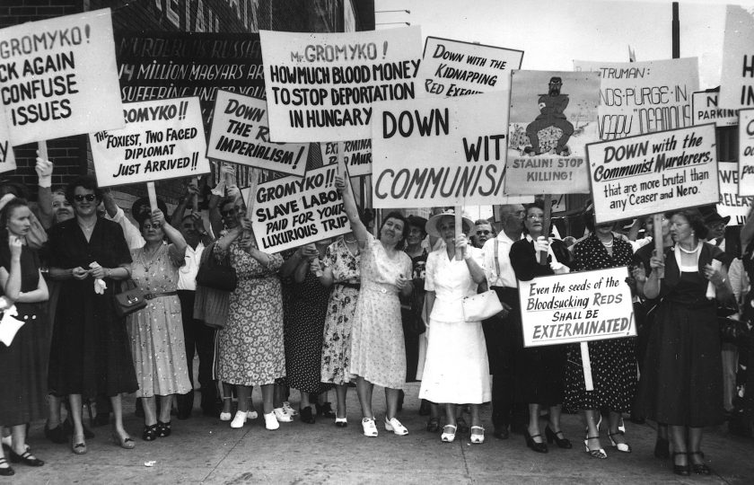 On the arrival of Soviet Foreign Minister Andrei Gromyko (1909 - 1989) in New York, a group of women protest against the Soviet regime. A typical banner reads, 'Gromyko ! The Foxiest, Two-Faced Diplomat Just Arrived'. Gromyko is due to travel to San Francisco to attend the Japanese Peace Treaty conference.   (Photo by Keystone/Getty Images)